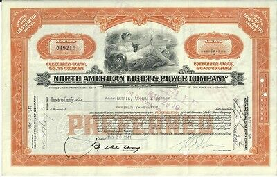 North American Light & Power Less Than 100 Shares Preferred Stock Orange 1940's