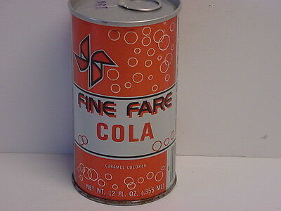 Vintage Fine Fare Cola Straight Steel Pull Tab Bottom Opened Soda Can
