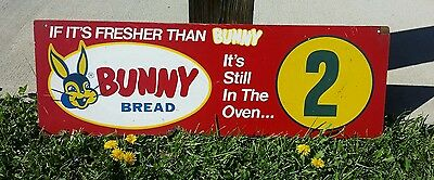 Original Bunny Bread Advertising Sign Aisle Sign Masonite Double Sided