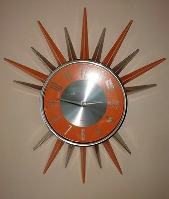 RETRO MID CENTURY Starburst Sunburst Atomic Wall Clock Kirch Orange