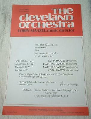 1974 CONCERT POSTER 13x20 CLEVELAND ORCHESTRA LORIN MAAZEL M. BAMERT PARMA OHIO