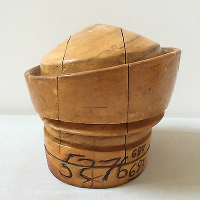 Vintage Wood Oval Hat Block Millinery Puzzle Mold With Asymmetrical Brim.