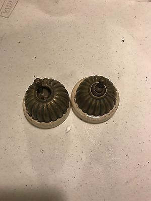 1900s Victorian fluted brass electric switch white Porcelain Base  2 pcs