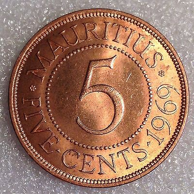 Mauritius 5 Cents 1969 Great Coin! Bronze #5555