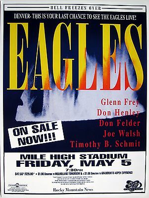 """EAGLES """"HELL FREEZES OVER"""" 1994 DENVER CONCERT TOUR POSTER - Classic Rock Music"""