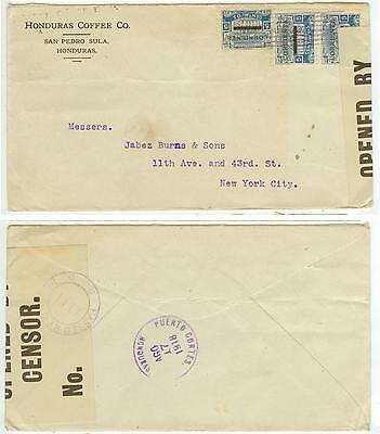 1918 WWI Honduras Coffee Co censored cover to New York