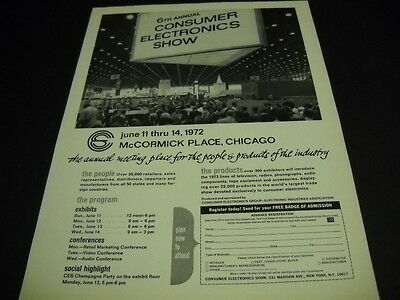 CONSUMER ELECTRONICS SHOW McCormick Place in Chicago 1972 PROMO POSTER AD mint