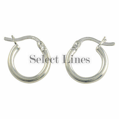 Sterling Silver 2mm x 10mm Polished Hinged Hoop Earrings Round Hollow Tube .925