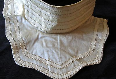 "antique womens silk collar, 2"" high neck with ribbon trim, pale blush pink"