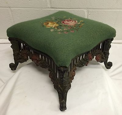 Antique Victorian Cast Iron Foot Stool French Country Roses Needlepoint~Wow!