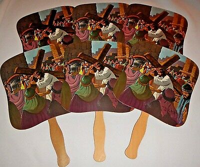 6 Vintage Church Hand Fans The Way of Sorrows Ad  Menchey Music Hanover PA