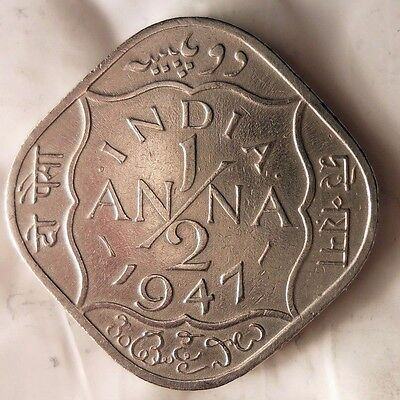 1947 BRITISH INDIA 1/2 ANNA - Excellent Collectible -FREE SHIPPING -India Bin #1
