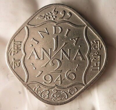 1946 BRITISH INDIA 1/2 ANNA - Excellent Collectible -FREE SHIPPING -India Bin #1