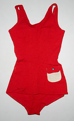 Vtg 60s 1 piece Bathing Swim Suit * SOLID RED * w/ Pocket ROMPER Swimwear XS / 0