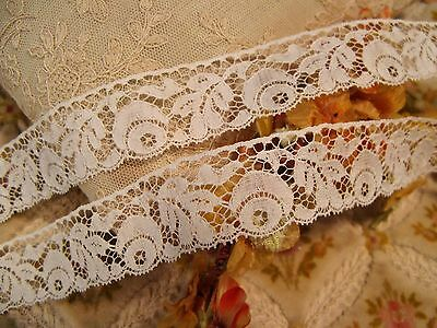 ANTIQUE FRENCH COTTON FLORAL EDGE LACE DOLL CRAFT 2 yards