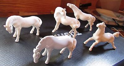 Herd of 5 Swatow China White Porcelain Horse Figurines
