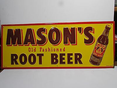 NOS MASON'S ROOT BEER ADVERTISING SODA TIN SIGN With Bottle Fantastic Colors