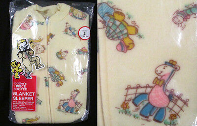 Darling VINTAGE UNWORN SLEEPER Toddler Footed Animals Retro Yellow Kmart Size 2