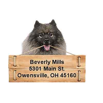 Keeshond return address labels die cut to shape of dog and sign