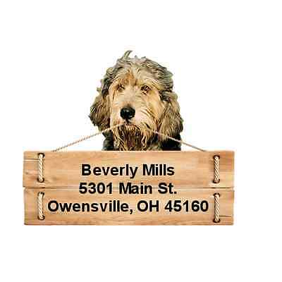 Otterhound return address labels die cut to shape of dog and sign