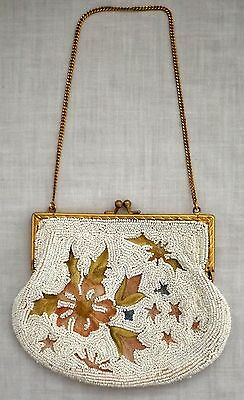 Small Vintage Beaded & Embroidered Purse Handbag Made in France