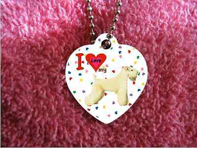 """Wheaten Terrier Dog heart necklace 24"""" chain background of hearts"""