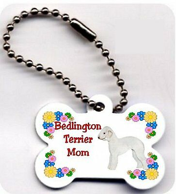 Bedlington Terrier Mom Dog Bone shaped key ring chain