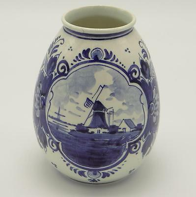Delft Hand Painted Vase Ceramic Holland Windmills