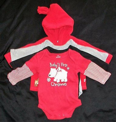 Baby's First Christmas ~ Lot Of 4 Articles Of Clothing ~ Size: 3/6 Months ~ Vgc