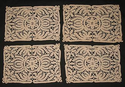 Set of 4 ANTIQUE BOBBIN LACE PLACEMATS or DOILIES Place Mats