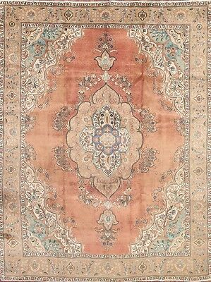 Antique Geometric Muted Color 10x13 Tabriz Persian Oriental Area Rug 12' 7 x 9'5