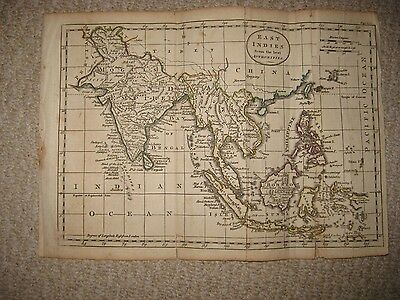 Antique 1790 East Indies Asia India Moguls Empire Philippines Copperplate Map Nr