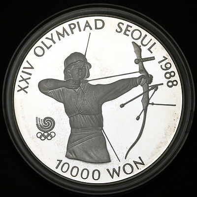 1987 Korea-South 10000 Won KM# 62 Sterling Silver Seoul Olympiad Archery Proof