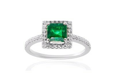 Natural Colombian Emerald princess cut and Diamond 18k White Gold  Halo Ring