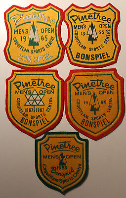 5x Pinetree 1965-1969 Mens Open Bonspiel Curling Patches Coquitlam