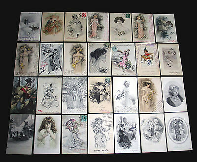Lot B05 : 28 Cpa Dessin Type Vienne Miss Pin-Up Mode Charme Elegance Enfant 1900
