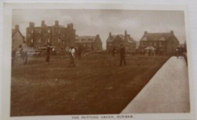 Vintage Old Postcard The Putting Green Dunbar with Unposted Penny Red Stamp