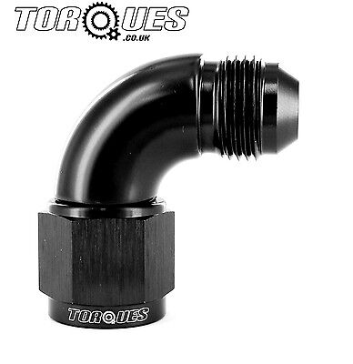 AN -8 (8AN) 90 Degree Male to Female UltraFlow Adapter in Black