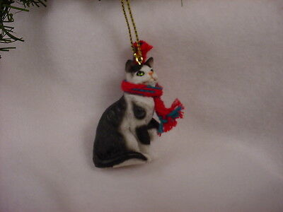 BLACK WHITE CAT Ornament HAND PAINTED Resin Figurine CHRISTMAS kitty kitten NEW