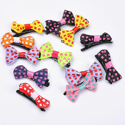 5X 10X  Randomly Girl Hair Clip Ribbon Bow Baby Kids Satin Bowknot Headband #4