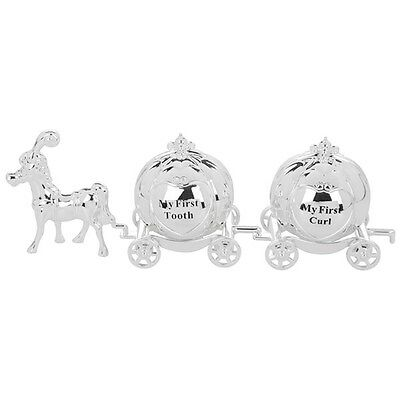 Mini Cinderella Silver Plated Horse And Carriages First Tooth First Curl Set