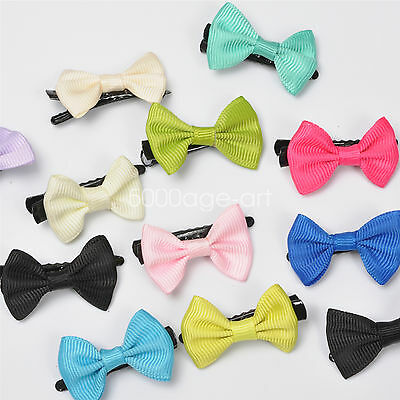 5X 10X  Randomly Girl Hair Clip Ribbon Bow Baby Kids Satin Bowknot Headband #7