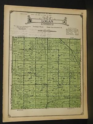 Nebraska Dixon & Dakota Counties Map Logan Township 1925  W5#15