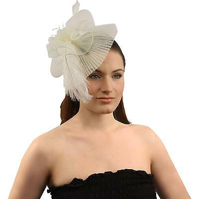 Handmade Floral Beads Feathers Removable Headband Fascinator Cocktail Hat Ivory