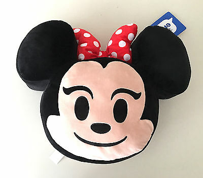 Disney Parks Minnie Mouse 2 Side Emoji Decorative Accent Toss Plush Pillow NEW