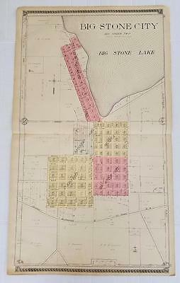 Large Original 1910 Plat Map of BIG STONE CITY SOUTH DAKOTA