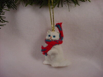 WHITE PERSIAN CAT Ornament HAND PAINTED Resin Figurine CHRISTMAS kitty kitten
