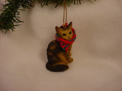 MAINE COON CAT Ornament HAND PAINTED Figurine CHRISTMAS Brown Tabby kitty kitten
