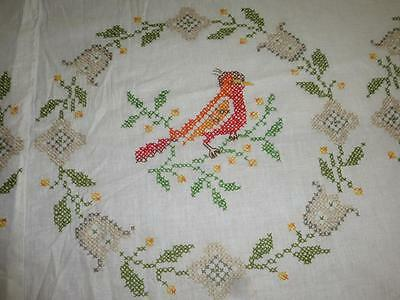 Vintage Completed BUCILLA Jiffy Cross Stitch QUILT TOP No 2299 SONG BIRDS 98x102