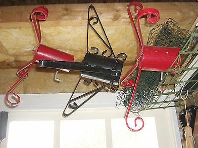 "2x (1 pair) matching red metal Christmas tree stands 2.75"" & 4"" trunk very large"